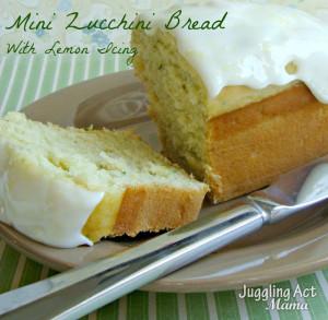Mini Zucchini Bread with Lemon Icing