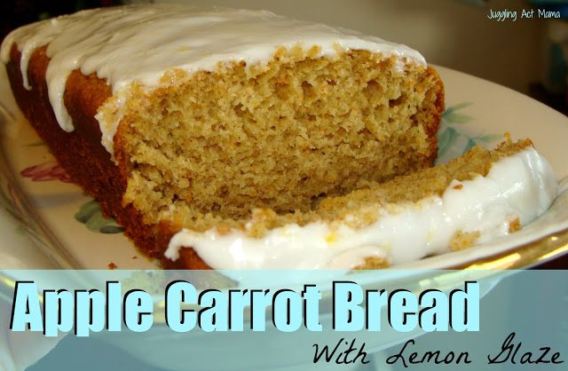 Apple Carrot Quick Bread with Lemon Glaze from Juggling Act Mama