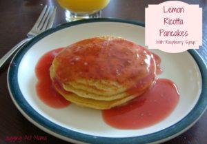 Lemon Ricotta Pancakes with Raspberry Sauce