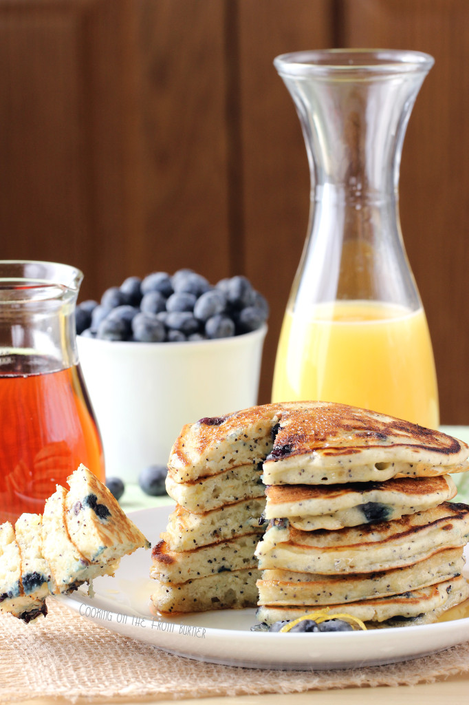 Lemon Blueberry Poppy Seed Pancakes from Cooking on the Front Burner as seen on Juggling Act Mama