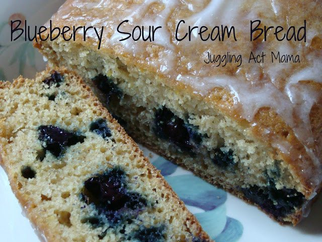 Blueberry Sour Cream Bread from Juggling Act Mama