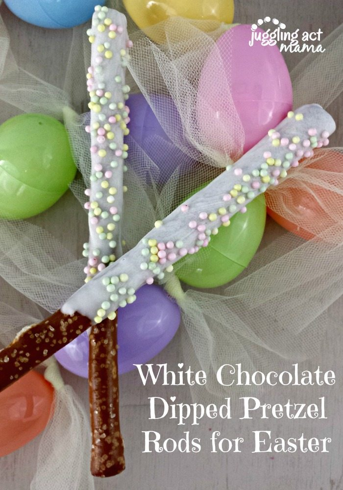 White Chocolate Dipped Pretzel Rods for Easter - a fun and quick treat!