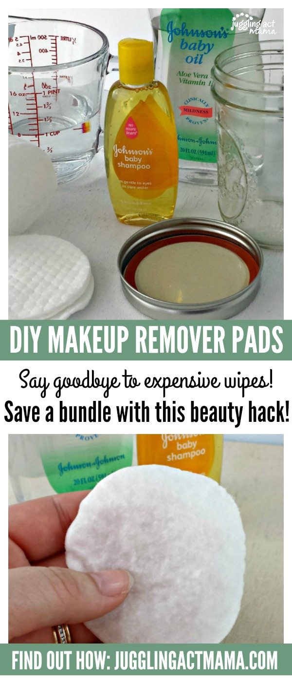 Juggling Act Mama shows you how to to make DIY MakeUp Remover Pads that leave your skin feeling clean and fresh for a fraction of the cost.