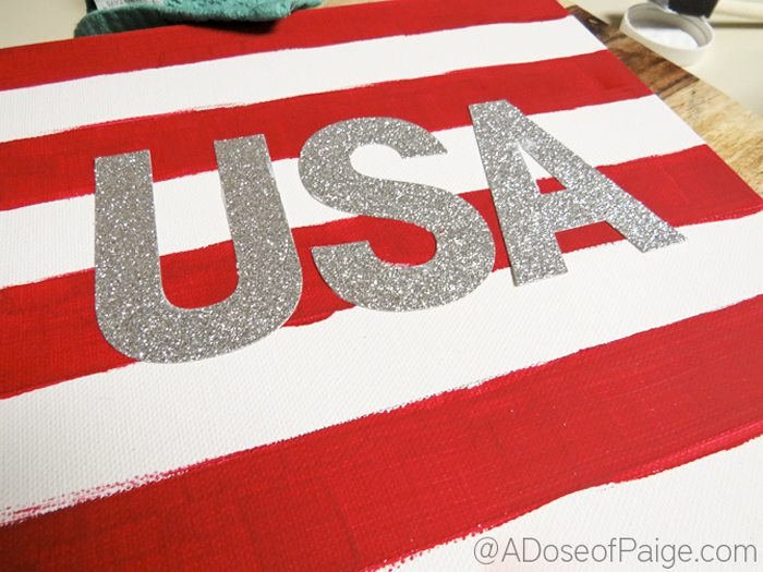 Stickers on USA canvas