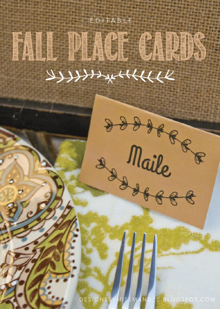Editable Fall Place Cards