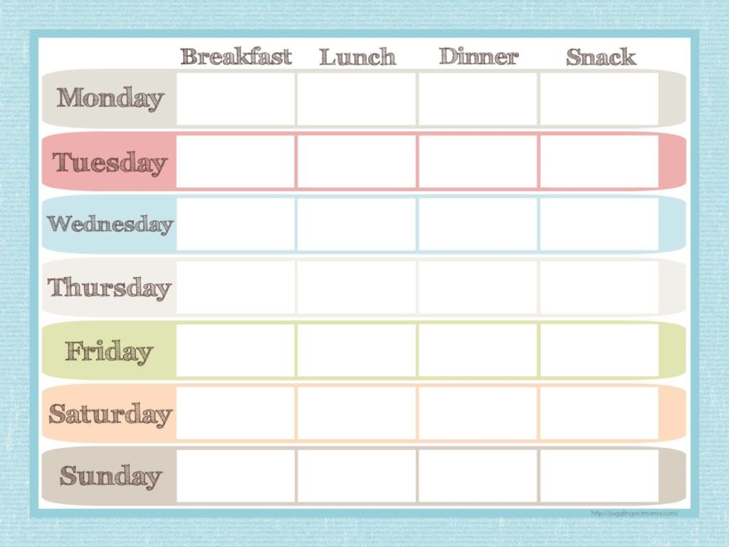 6 weekly menu planner templates infarrantly creative