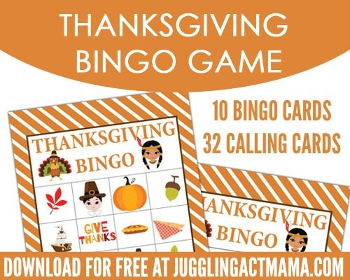 Free Thanksgiving Printable BINGO Set