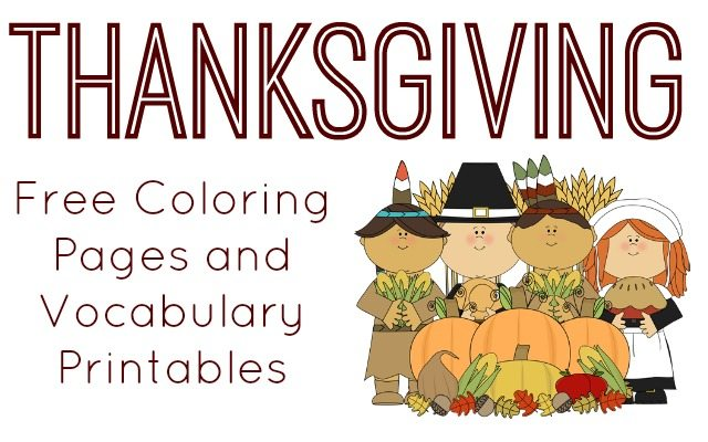 Thanksgiving Vocabulary and Coloring Page Printables 320