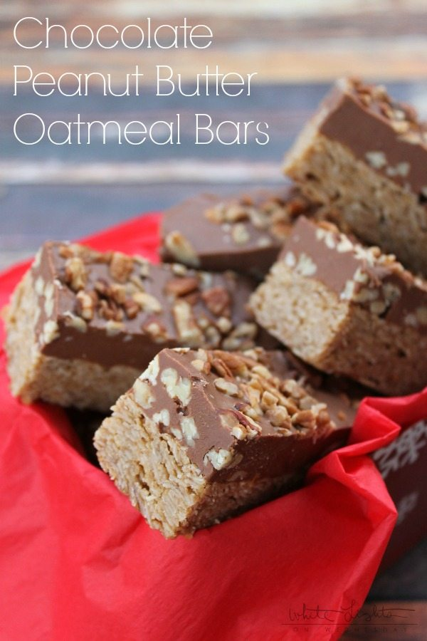 Chocolate Peanut Butter Oatmeal Bars  via White Lights on Wednesdays