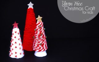 Get ready for the holidays with a fun yarn tree Christmas craft for kids! {OneCreativeMommy.com}