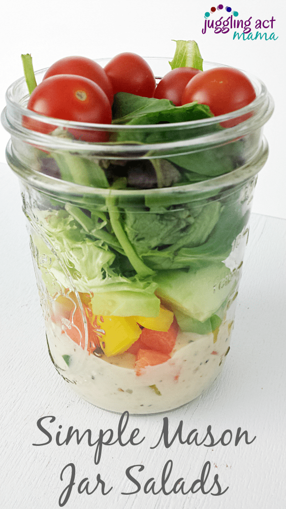 Simple Salads Packed in Mason Jars