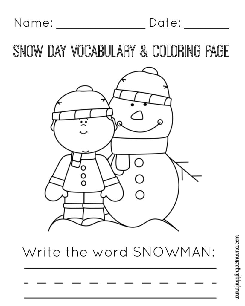 Snow Day Vocabulary and Coloring Page - Snowman and Boy