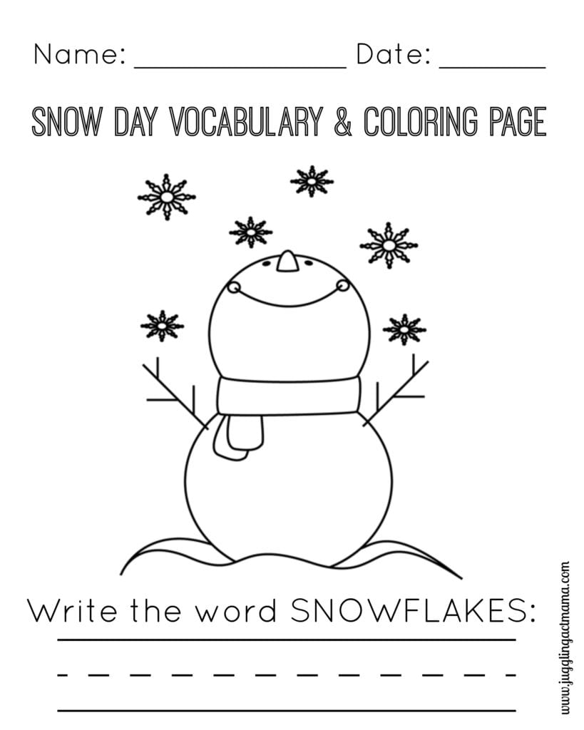 Snow Day Vocabulary and Coloring Page - Snowman and Snowflakes