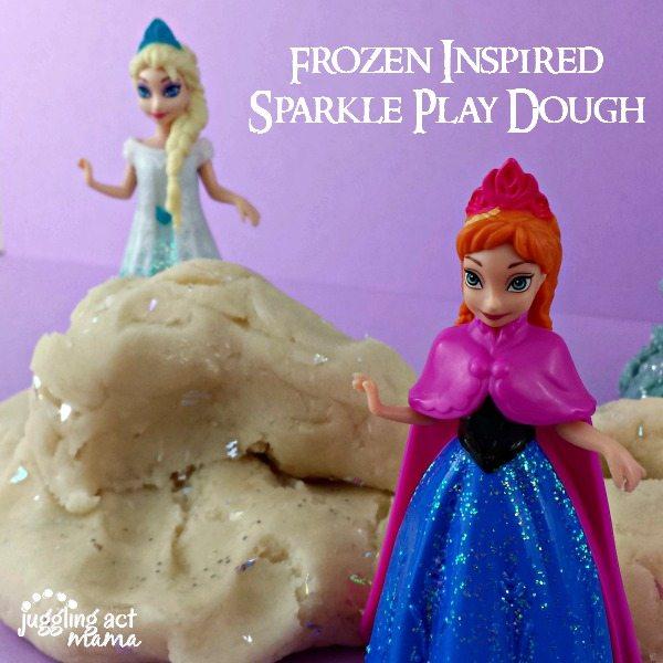 Frozen Inspired Glitter Play Dough via Juggling Act Mama