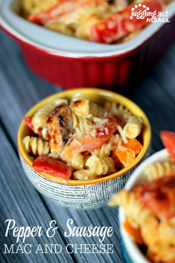 Sausage and Pepper Mac and Cheese via Juggling Act Mama www ...