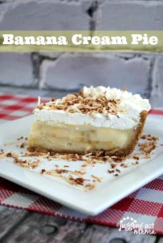 Banana Cream Pie topped with toasted coconut