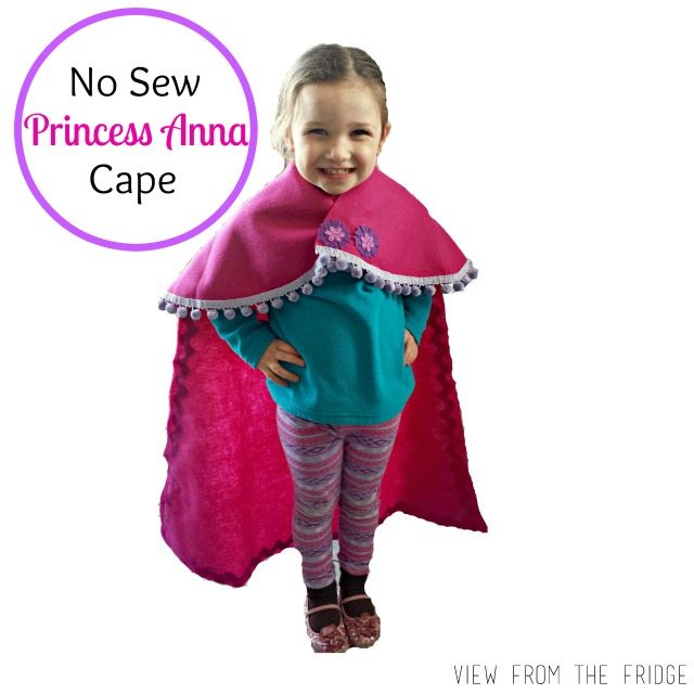 No Sew Princess Anna Cape Tutorial | View From The Fridge for Juggling Act Mama
