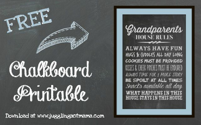 Grandparents House Rules - Free Chalkboard Printable Download at Juggling Act Mama