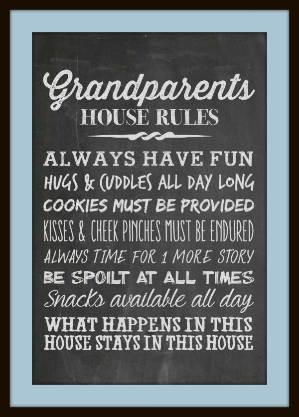 Grandparent's House Rules Matted - Juggling Act Mama free chalkboard printable