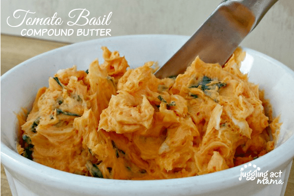 Tomato Basil Compound Butter - delicious on pasta or garlic bread via Juggling Act Mama