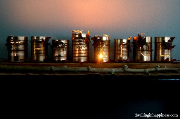 Thankful Tin Can Luminaries from Dwelling in Happiness