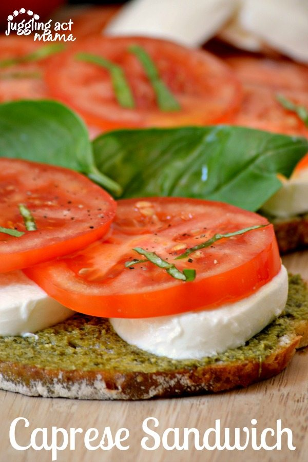 Delicious Toasted Caprese Sandwich with fresh ingredients from the Farmer's Market via Juggling Act Mama