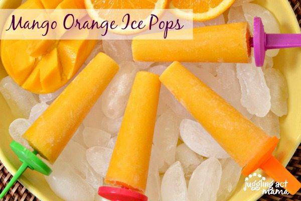 Mango Orange Ice Pops via Juggling Act Mama