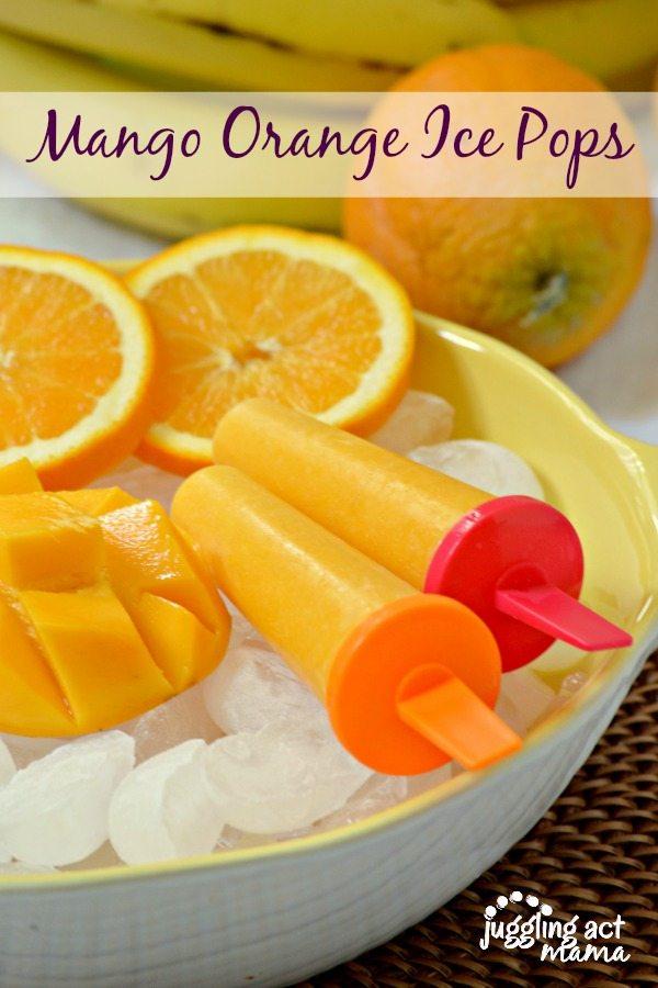 Mango Orange Smoothie Ice Pops