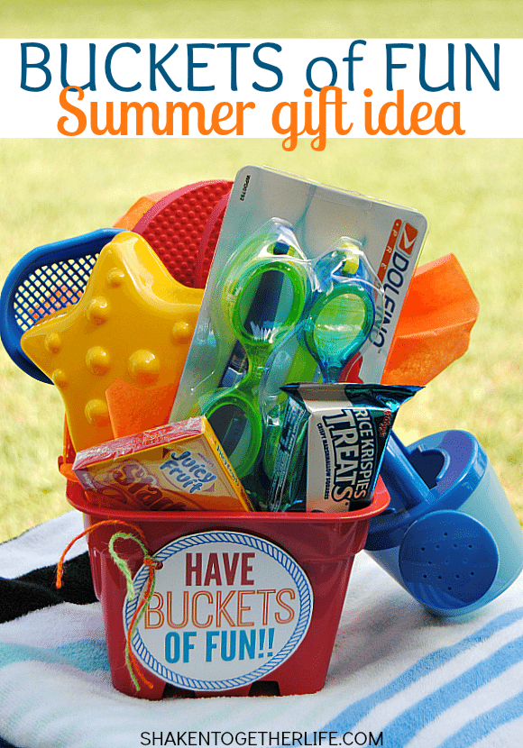 Heading out for a road trip or staycation this Summer with the kids? Pack a plastic bucket with toys & treats for a super cute Buckets of Fun Summer gift!