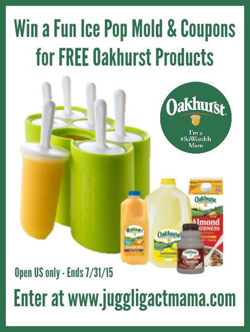 Enter to win a fun ice pop mold and coupons for FREE Oakhurst  products at www.jugglingactmama.com