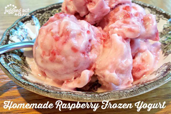 Homemade Frozen Yogurt with fresh raspberries