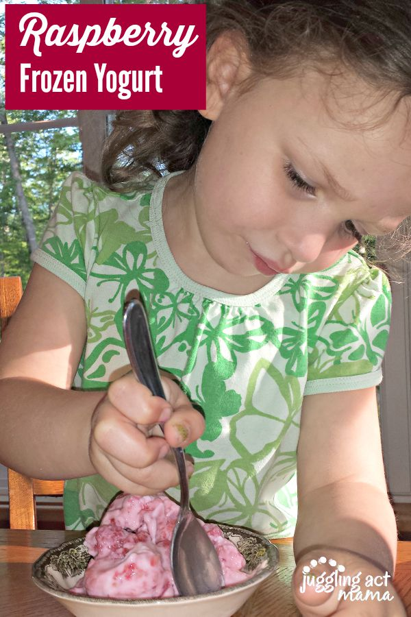 Olivia loves her homemade raspberry frozen yogurt!