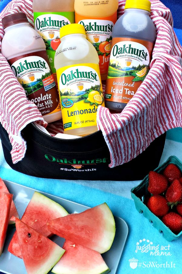 Take Oakhurst bottles and healthy snacks to the beach