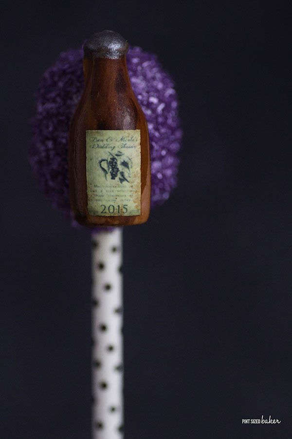 All the ladies are going to enjoy a cake pop with their favorite wine bottle on top.