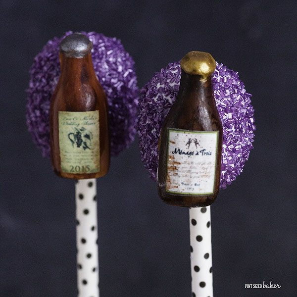 Wine Bottles made from Sugar with edible paper labels. Make your favorite wine label.