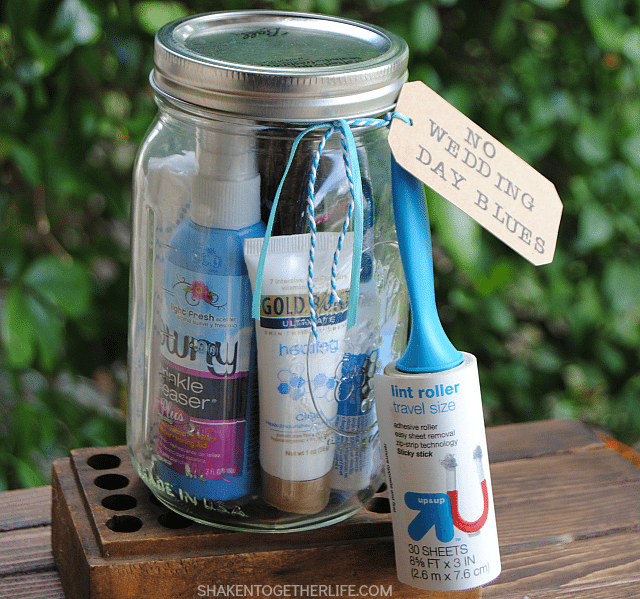 Stuffed with items that conquer wedding day wrinkles, headaches, hunger, happy tears and even fresh breath, this Wedding Gift in a Jar is a thoughtful gift that any bride would appreciate!