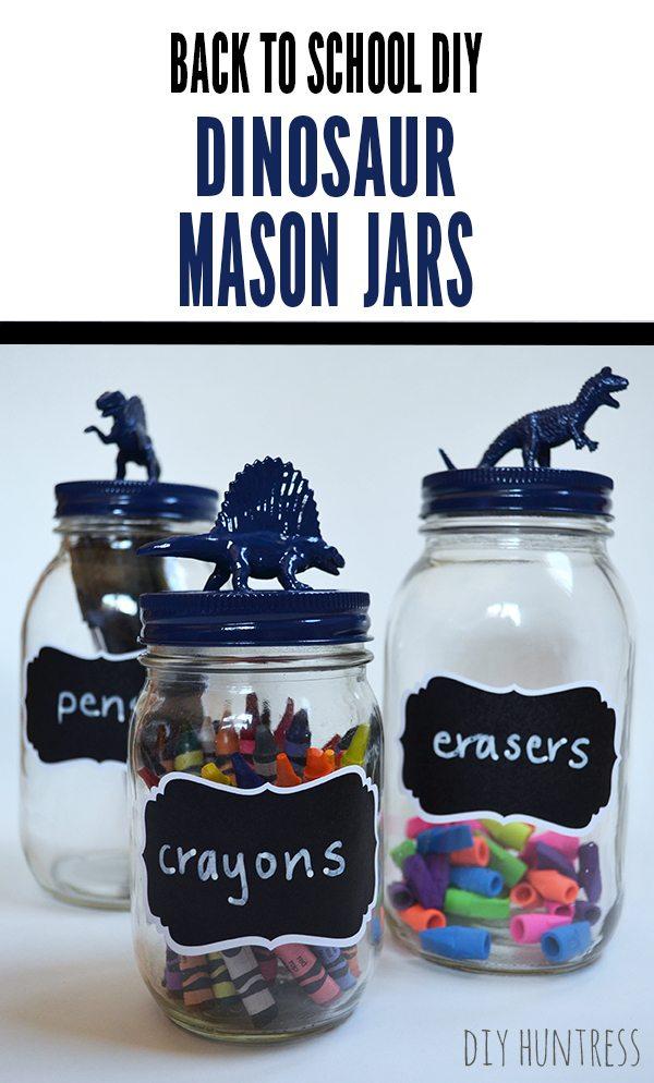 Back To School DIY Mason Jar Dinosaur