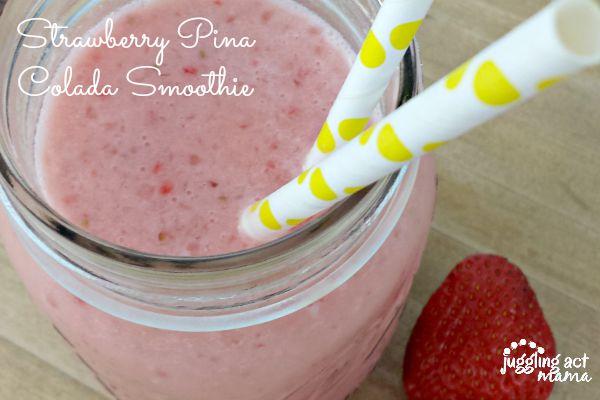 Strawberry Pina Colada Smoothie Recipe - www.jugglingactmama.com
