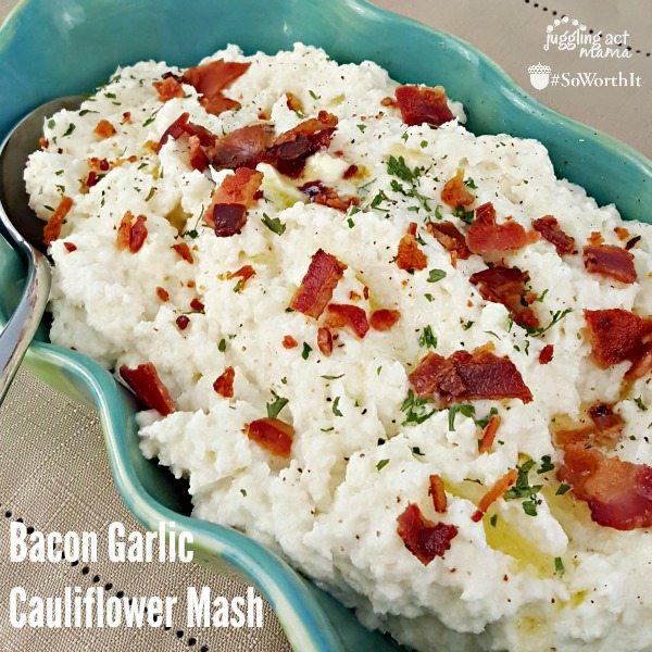 Bacon Garlic Cauliflower Mash #SoWorthIt