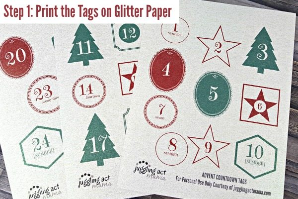 Print the Advent Coutdown Tags on Glitter Paper!