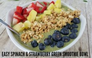 Easy Green Smoothie Bowl with Spinach & Strawberries