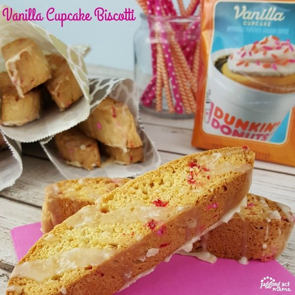 This Vanilla Cupcake Biscotti with Coffee Glaze is perfect for Brunch!