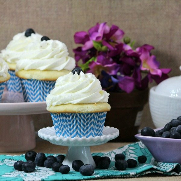 Blueberry Filled Cupcakes with Buttercream Frosting via Juggling Act Mama
