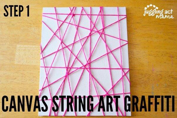 Canvas String Art Graffiti Step 1
