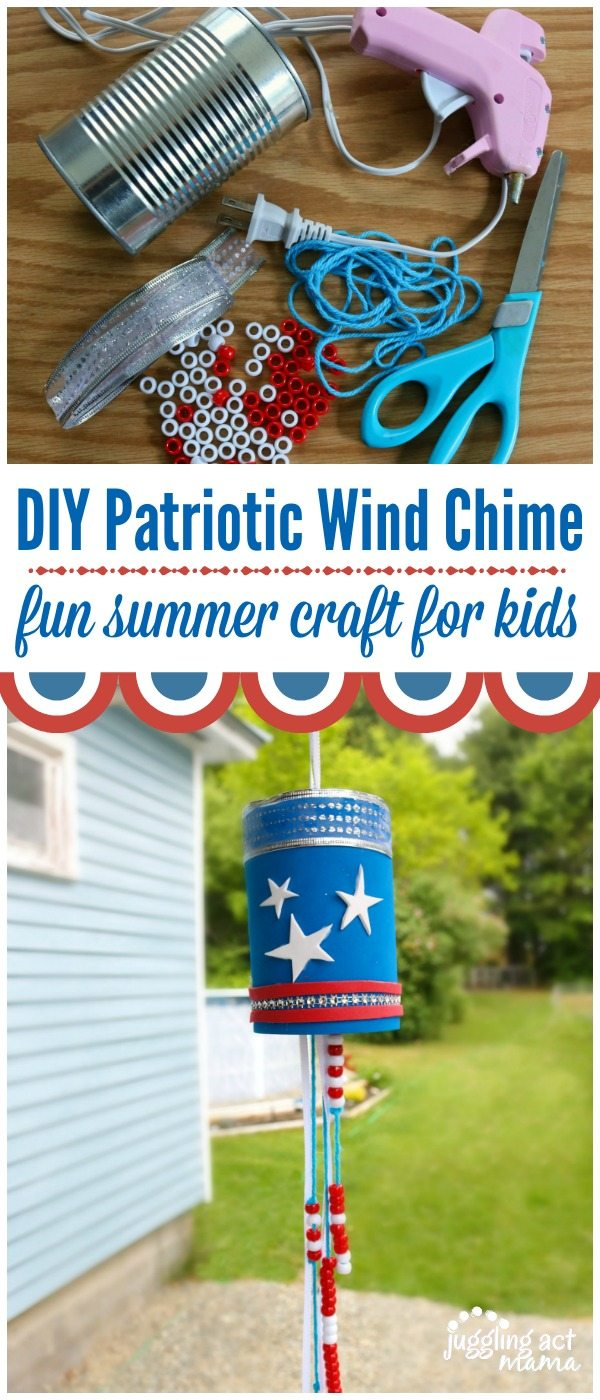 DIY Patriotic Wind Chime craft for kids from Juggling Act Mama