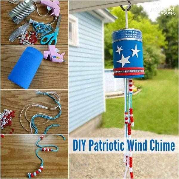 DIY Patriotic Wind Chime summer craft for kids