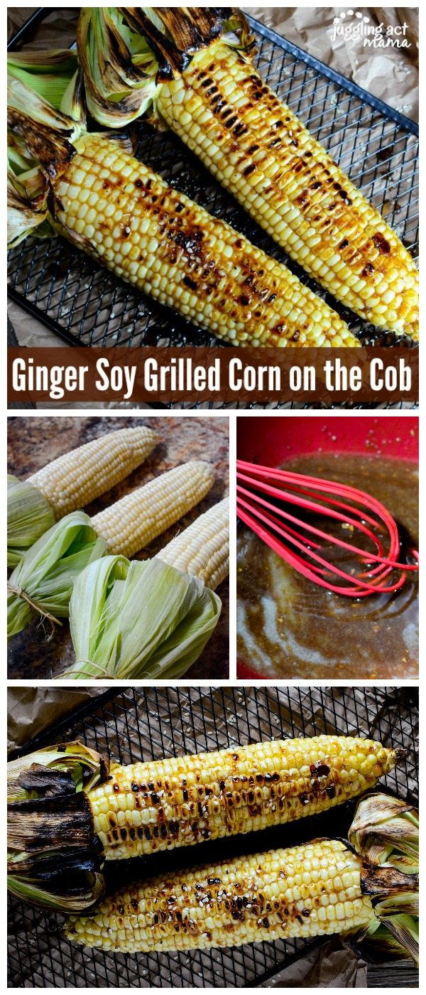 Ginger Soy Grilled Corn - Asian inspired grilled corn on the cob