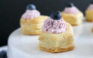 Blueberry Mousse Puff Pastry Cups