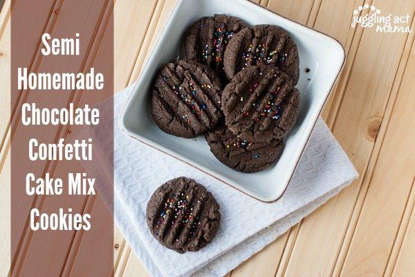 Semi Homemade Chocolate Confetti Cake Mix Cookies