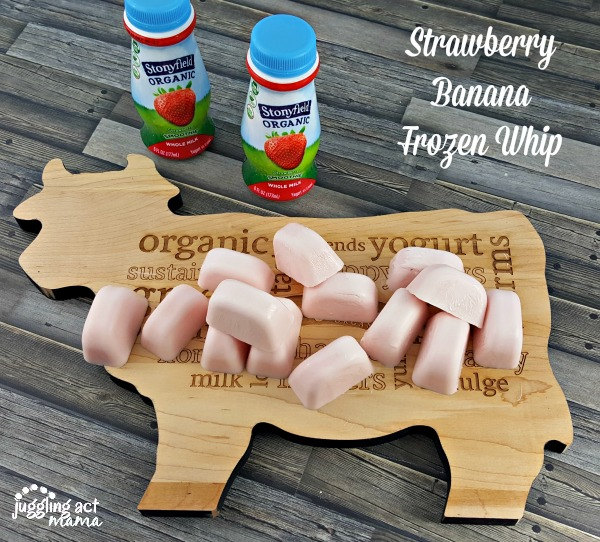 Strawberry Banana Frozen Whip starts with frozen Stonyfield Whole Milk Smoothies #sponsored